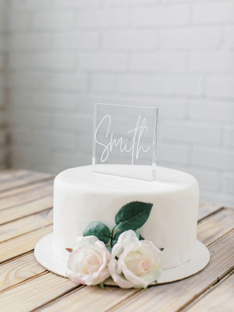 lucite cake topper