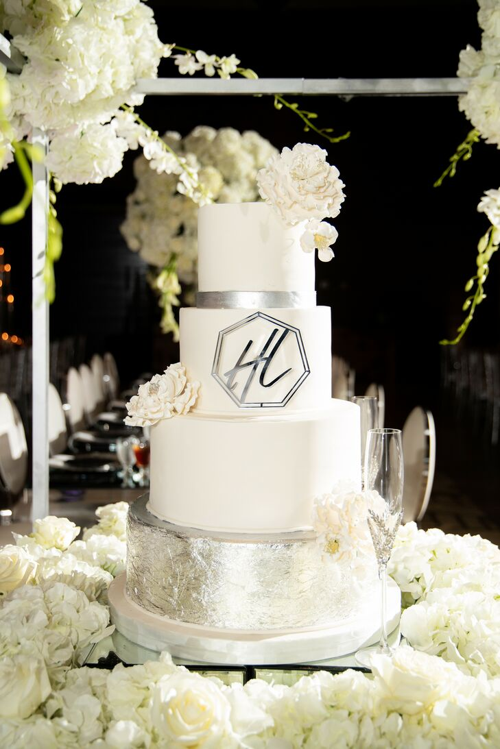 Silver-and-White Wedding Cake at the Georgia Freight Depot in Atlanta