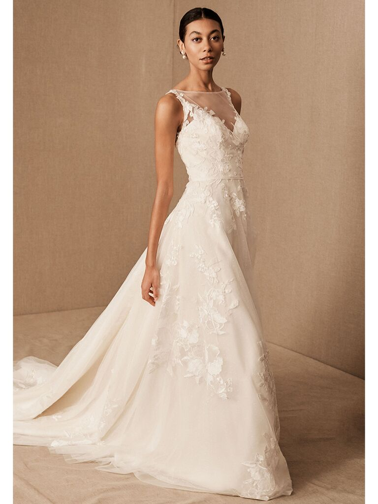 BHLDN A-line dress with lace and illusion neckline