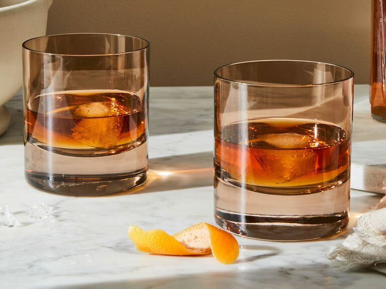 colored rocks glasses with antique style