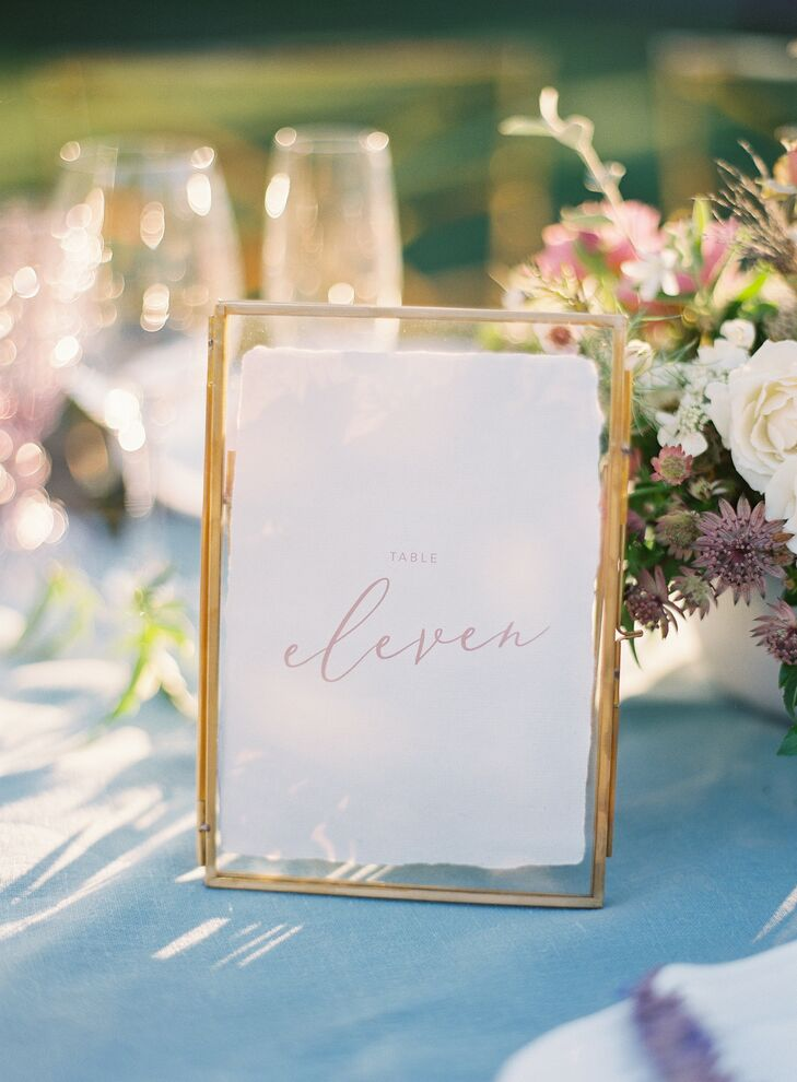 Elegant Framed Table Number at Wente Winery Wedding