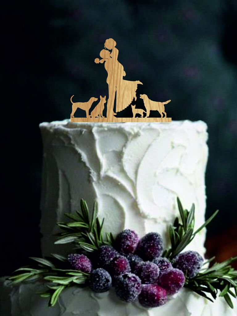 Custom silhouette wooden wedding cake topper