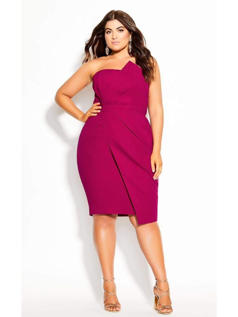 Magenta strapless plus size mini dress