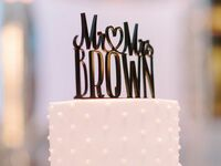 Mr. and Mrs. Brown cake topper