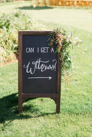 Rustic Wood Frame Chalkboard Sign with Cascading Greenery