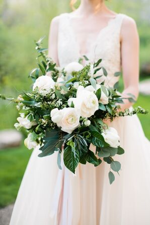 Blush Ranunculus and Lush Greenery Bouquet