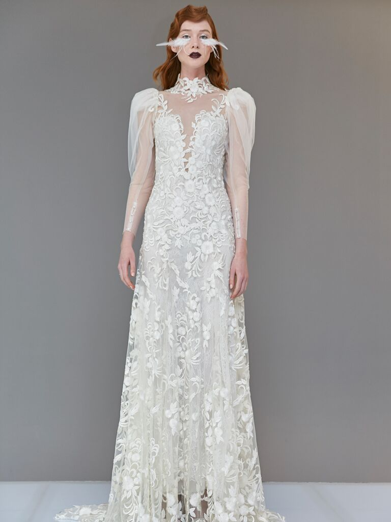 Francesca Miranda Spring 2020 Bridal Collection lace embroidered wedding dress with sheer detailing