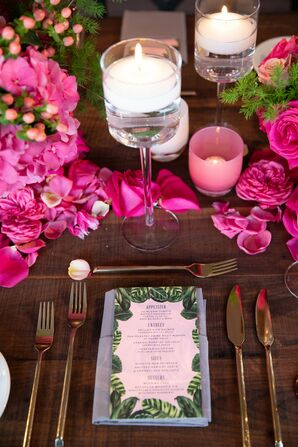Modern Place Setting with Menu, Gold Flatware, Candles and Pink Centerpieces
