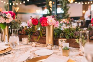 Gold, Pink and Red Centerpieces