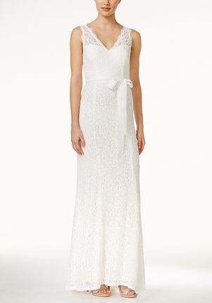 Adrianna Papell Wedding Dresses Adrianna papell Lace V-Neck Sash Gown A-Line Wedding Dress