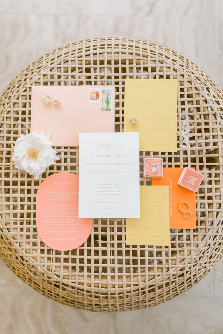 Romantic Pink, Yellow and Orange Wedding Invitations