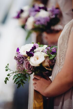 Bridesmaid Bouquets with Ivory and Lavender Roses