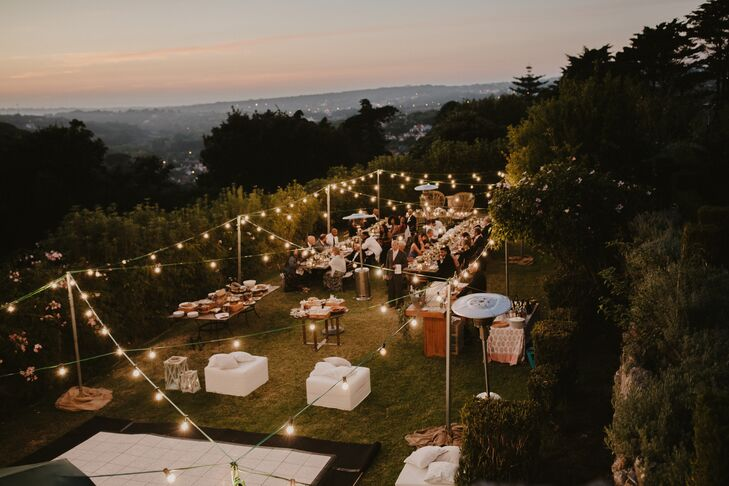 Rustic Reception with String Lights in Portuguese Mountains