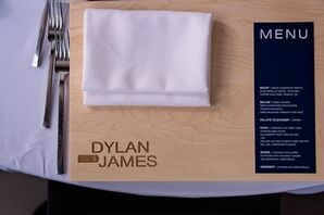 Cutting Board Favors and Navy Menu Cards