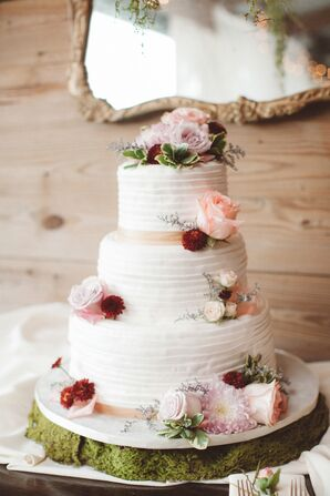 Tiered White Wedding Cake with Blush Rose Topper