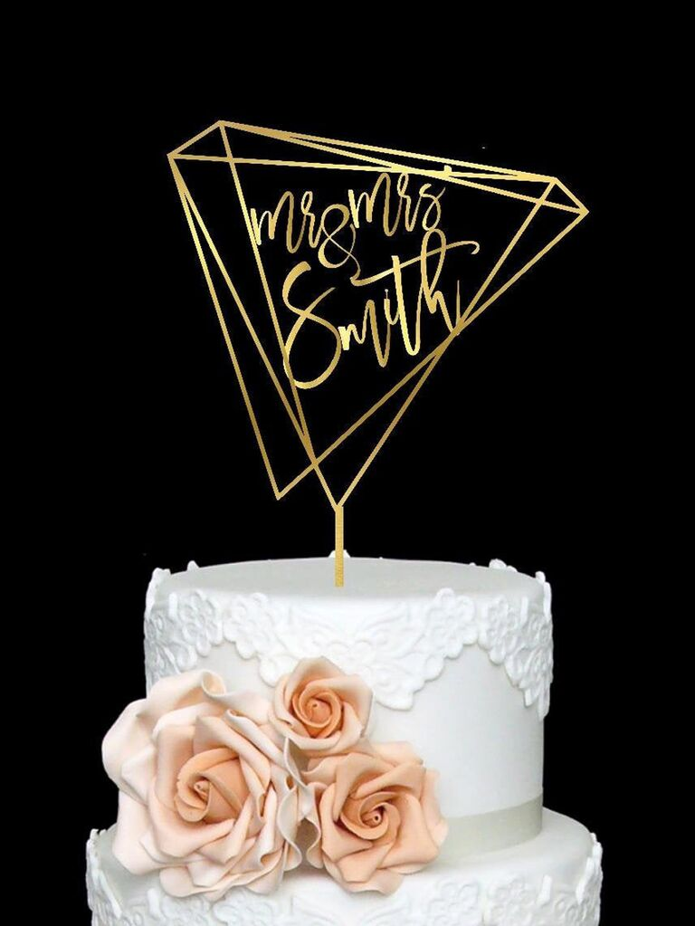 Unique diamond wedding cake topper