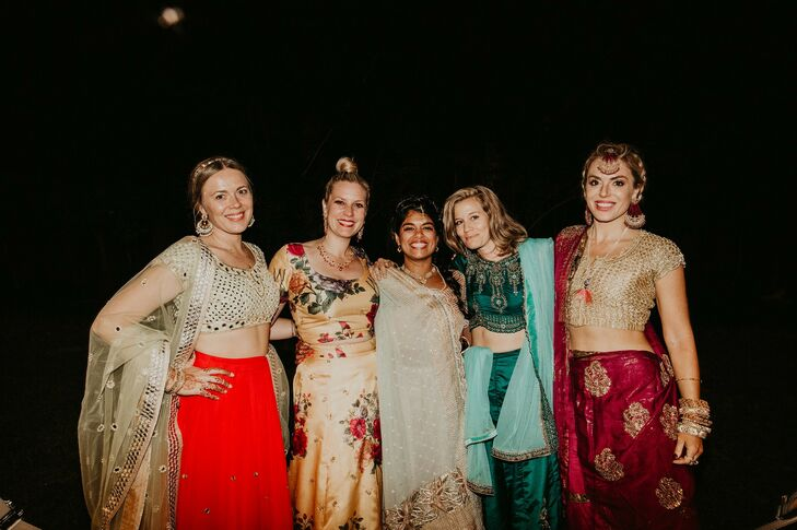 Guests Wearing Traditional Indian Saris at Overbrook House in Buzzards Bay, Massachusetts