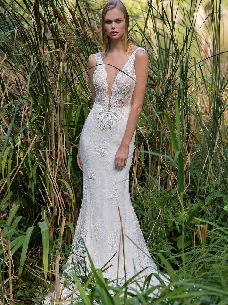Persy Fall/Winter 2018 beaded embroidered mermaid wedding dress with plunging neckline