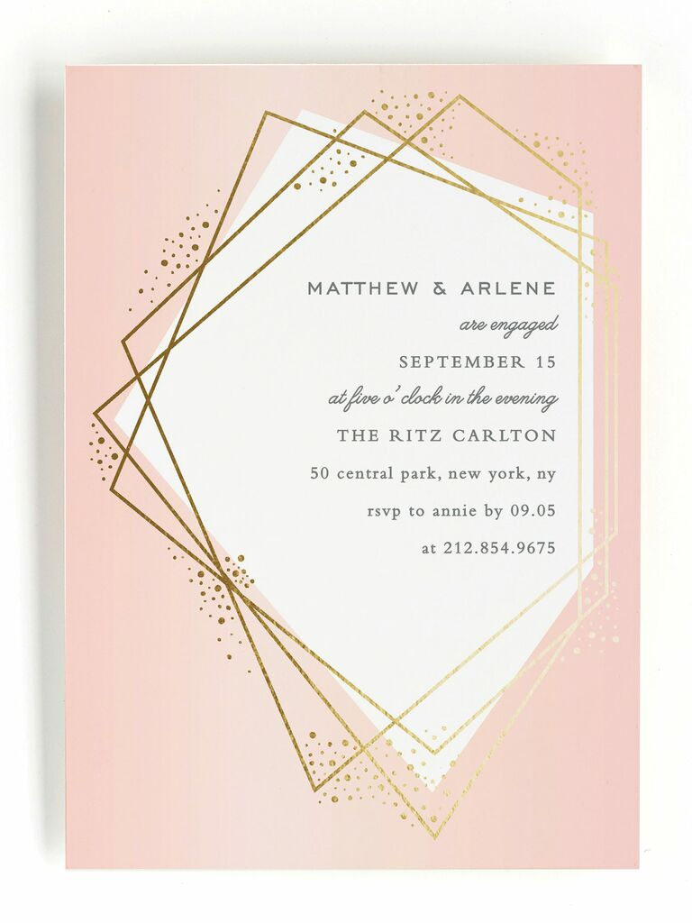 Pink geometric engagement party invitation