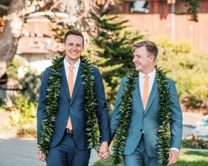 Classic Same-Sex Couple with Blue Suits, Orange Ties and Greenery Leis