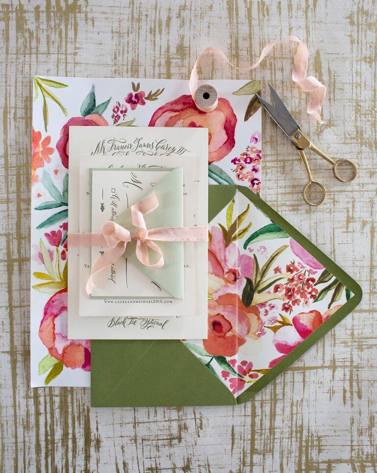 Bright floral custom wedding invitations