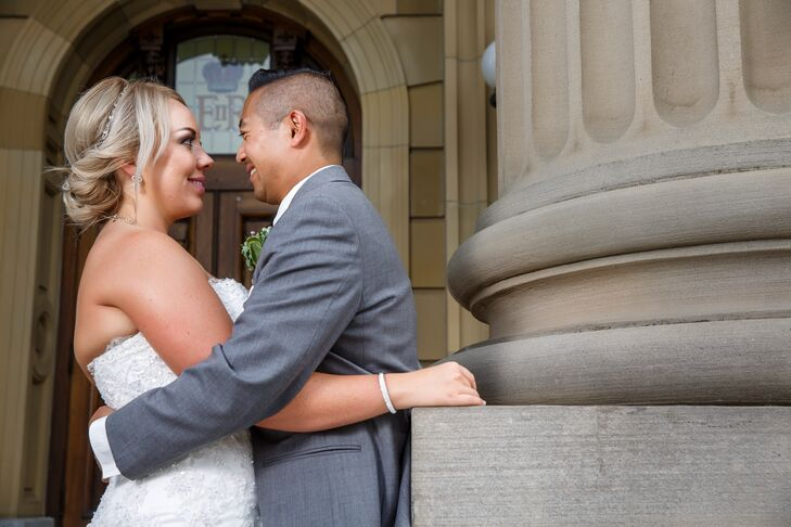 Since Kaila Smith (28 and a teacher) and Peter Medina (37 and a teacher) met at the school where they work, they both wanted to incorporate a school t