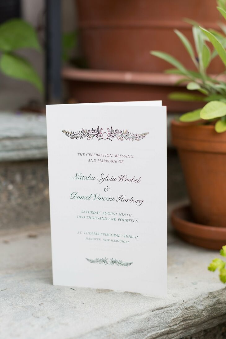 Natalia designed all the wedding stationery and a family friend helped the couple print the ceremony programs.