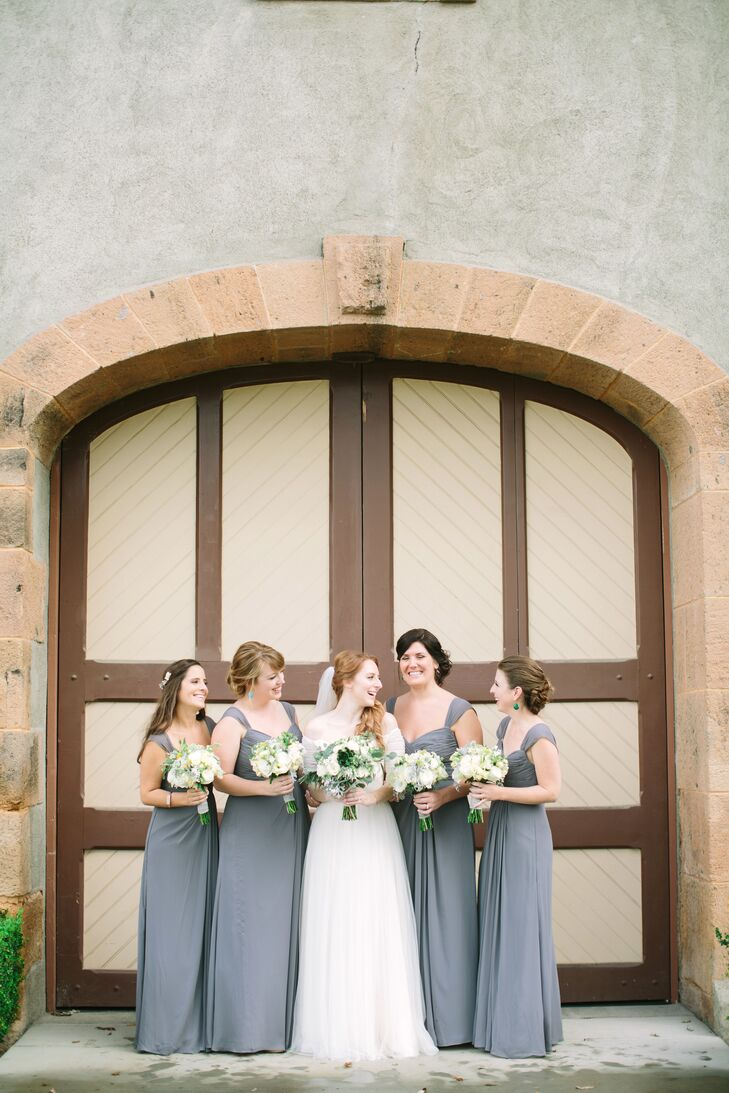 """""""I had four bridesmaids. Originally, my only criteria were that they were all in the same color and length — they could choose whatever bodice style suited them,"""" says Sloane. """"Remarkably, all the girls picked the same style as their favorite, which made it pretty easy for us!"""""""