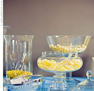 Ashley's mom set up an all-yellow candy bar, which included handmade yellow candy flowers! Guests filled cellophane bags with their favorites so they could enjoy the treats back home.