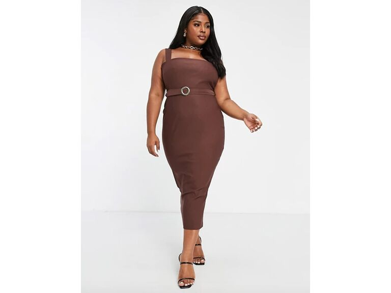 Chocolate fitted midi dress with belted waist