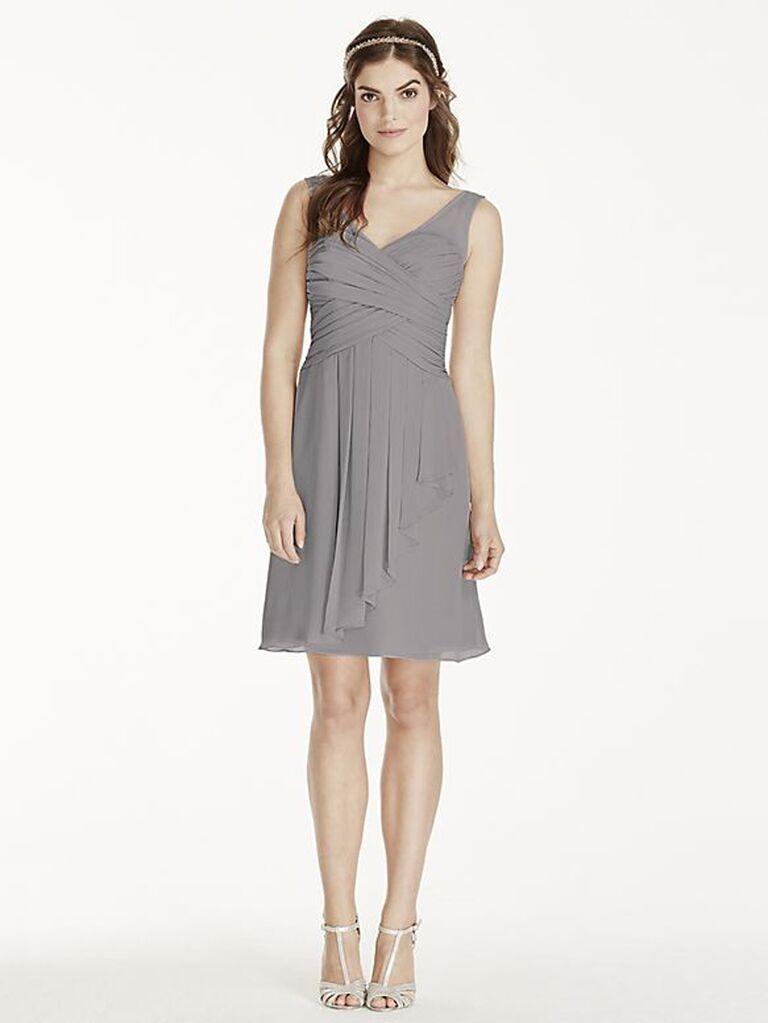 Short gray bridesmaid dress