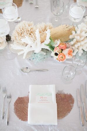 Coral and Sea Fan-Accented Place Settings