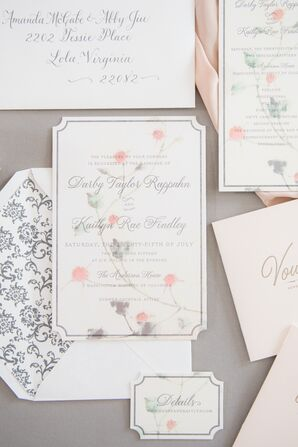 Romantic Invitation Suite with Rose Illustration and Baroque Print