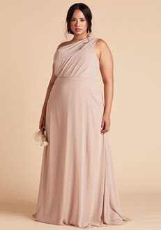 Birdy Grey Kira Dress Curve in Taupe One Shoulder Bridesmaid Dress