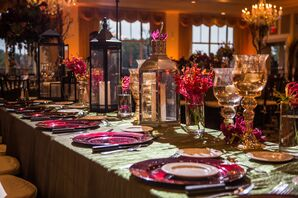 Metallic Lanterns, Green Linens and Fuschia Decor at Ballroom Reception