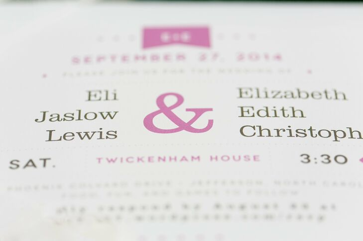 One of Edith and Eli's most enjoyable memories of planning their wedding was working together to customize their graphic black and pink invitation design from Minted.com.