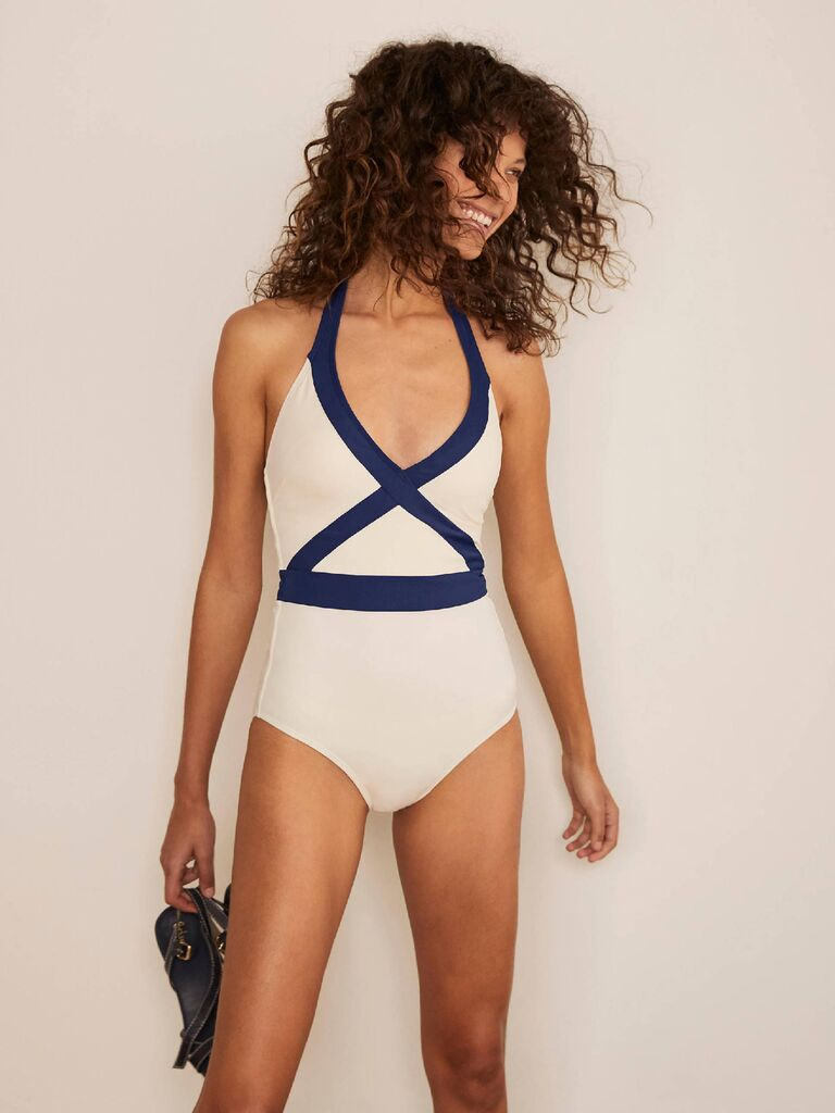 Block color ivory and navy swimsuit