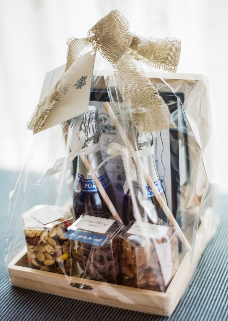 Wedding Welcome Bag With Champagne And Snacks