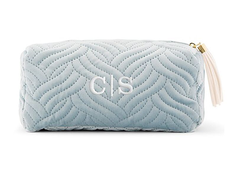 ​The Knot Shop personalized velvet quilted makeup bag affordable bridesmaid gifts