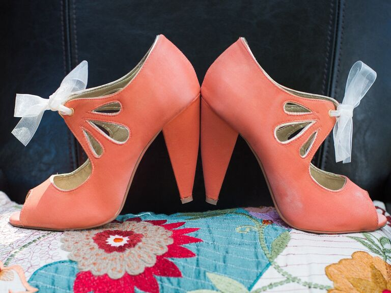 Living Coral Vintage-Inspired Wedding Shoes