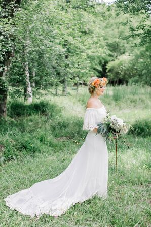 Bohemian Bride with Lace Off-The-Shoulder Dress and Flower Crown