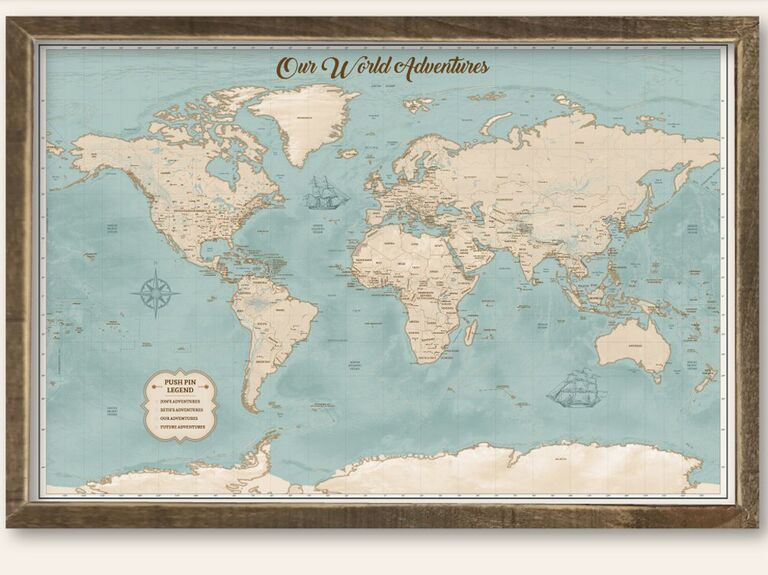 World map one year anniversary gift for him : one year anniversary gift - princetonregatta.org