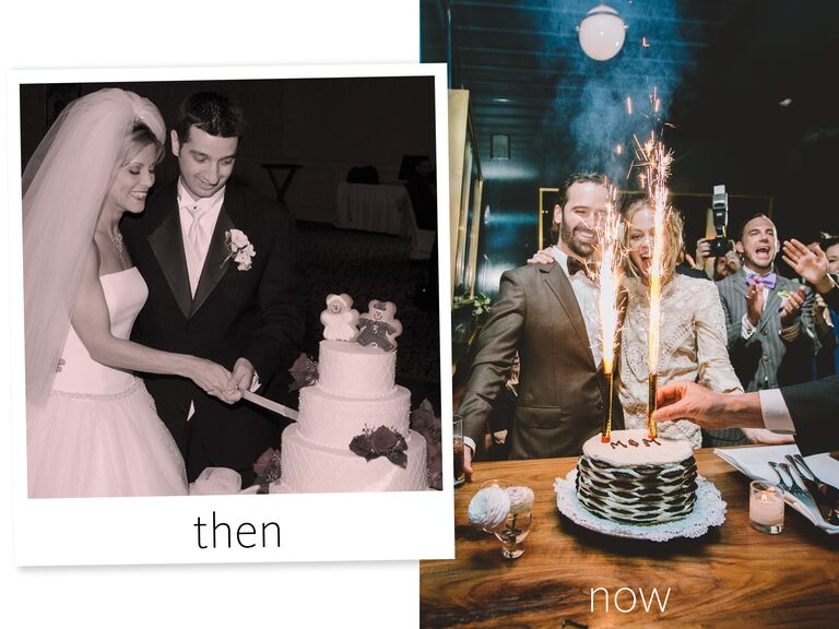 Weddings then vs. now. A 90s military bride and groom cutting their traditional pillar cake topped with red flowers with a traditional sword and a modern Brooklyn couple setting off Roman candles in their Oreo cake.