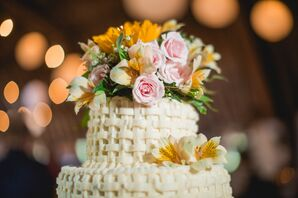 Wildflower Topper on Woven Wedding Cake