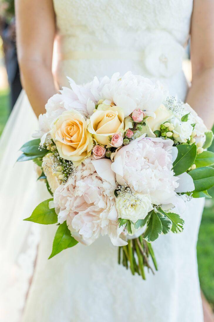 Romantic Blush, Yellow and White Bridal Bouquet