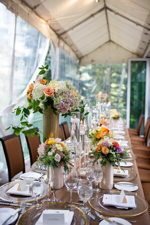 Wildflower-Filled Gold Vases Table Decor