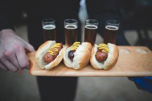 Hot Dogs and Beer Flight on Paddle