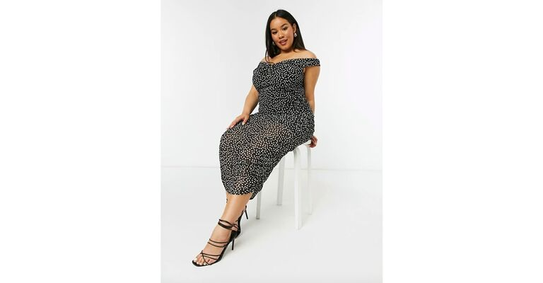 Black and white polka dot ruched midi dress with off-the-shoulder neckline
