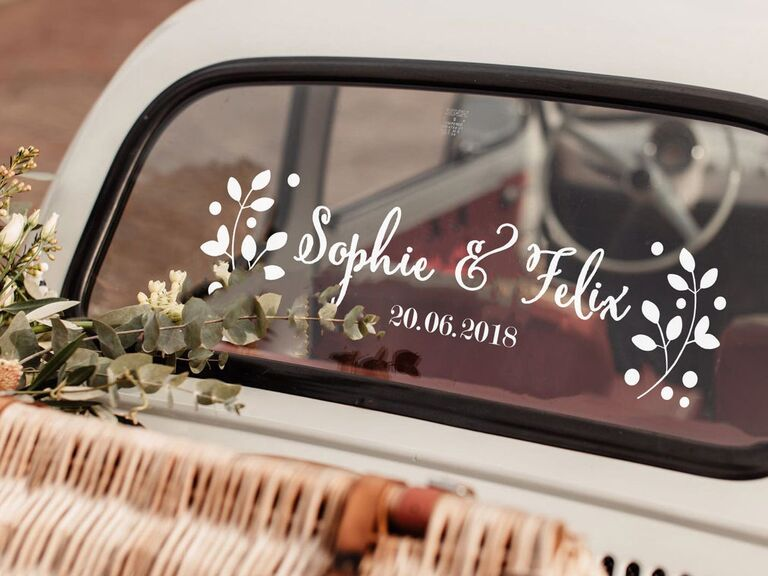 Personalized decal for wedding car