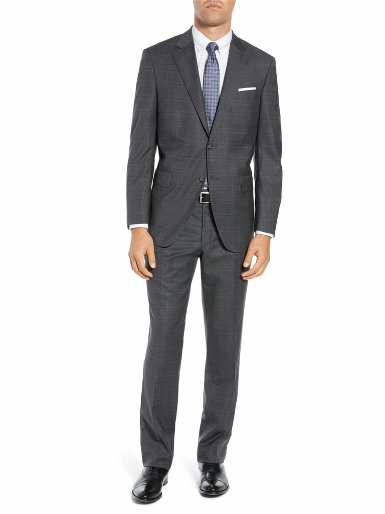 Gray plaid wedding guest suit
